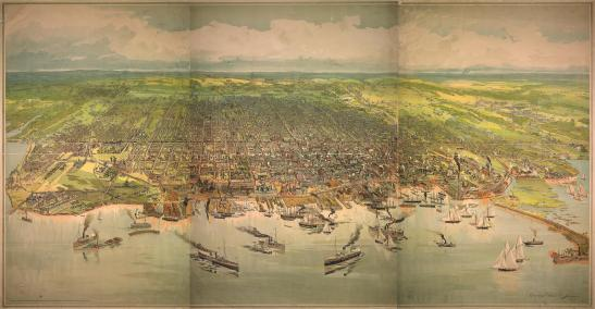 By the 1890s, Toronto was a city of industry that had expanded well beyond the original grid. More info on this 1893 lithograph here.