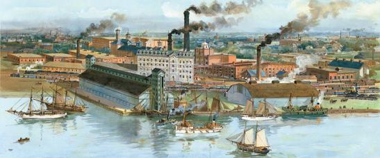 The Gooderham Worts distillery in 1896, when it was one of the largest in the world.