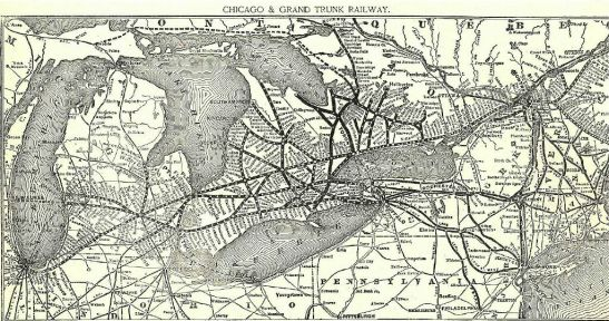 A railway city: Toronto at the heart of rail network extending in all directions, 1891. See info here.
