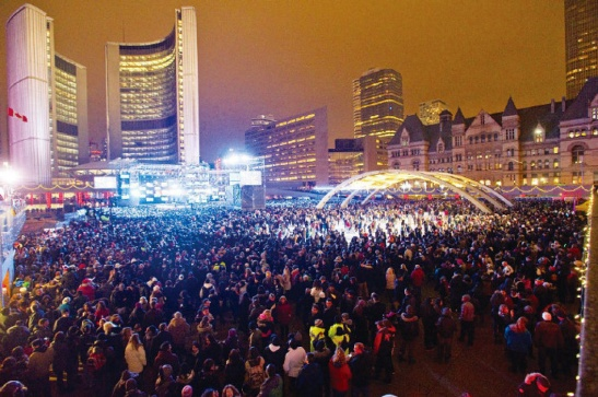 New Year's Eve, 2011, at Nathan Phillips Square. Toronto Star