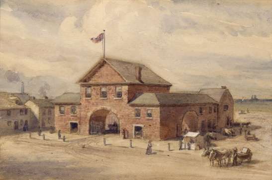 This beautiful 1912 watercolour recreates the market building destroyed in the fire of 1849.