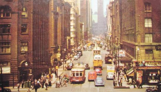 Before glass and steel: Bay Street looking north from King, 1950s. Chuckman's Toronto.