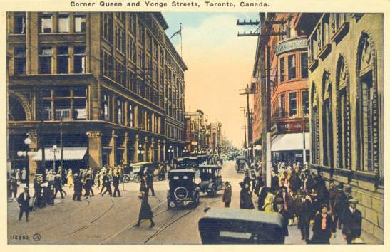 Yonge & Queen, c. 1920: Bustling with life. Chuckman's Toronto.