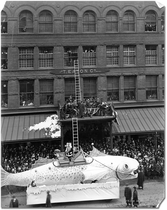 Santa Claus climbs into Eaton's toyland, 1921. Archives of Ontario