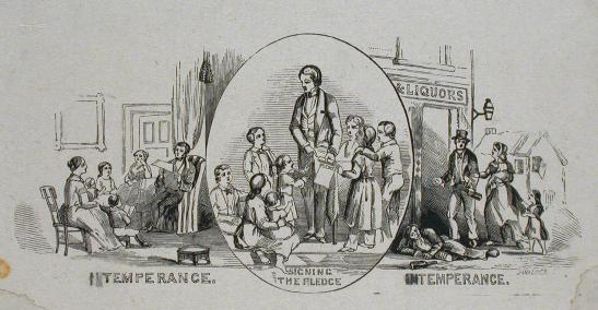 SIgning the Temperance pledge: An 1859 poster for abstinence. McCord Museum
