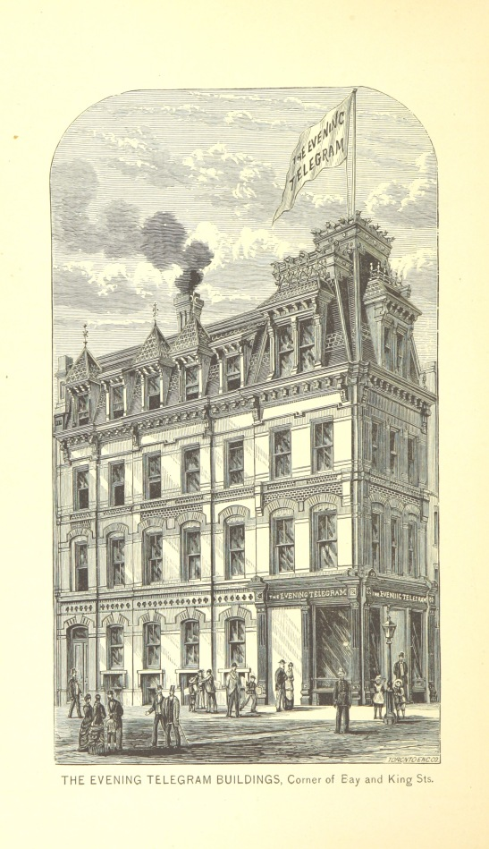 Before skyscrapers: The Evening Telegram building on the SW corner of Bay & King, 1884. Wikipedia Commons