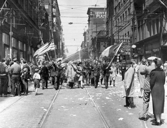 Victory in Europe Day on Yonge, 1945.